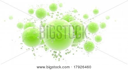 3D rendering of an abstract background with green shinny spheres and droplets