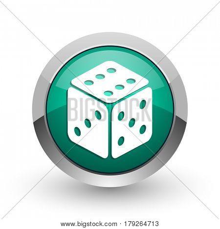 Game silver metallic chrome web design green round internet icon with shadow on white background.