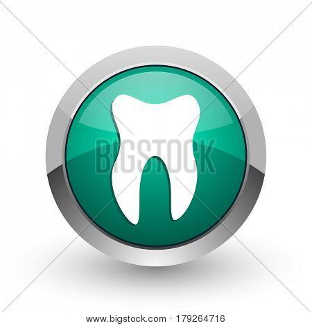 Tooth silver metallic chrome web design green round internet icon with shadow on white background.