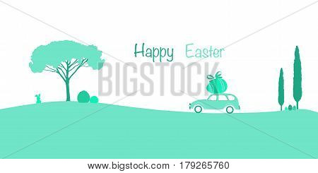 Happy Easter. Old French car with egg on the roof in French landscape with eggs and rabbit. Green shades.