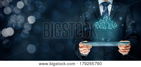 Cloud computing concept - connect devices to cloud. Businessman or information technologist with cloud computing icon in printed circuit board (PCB) design.