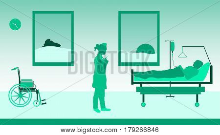 Nurse in hospital. Nurse with injection, patient in a bed and a wheel chair.