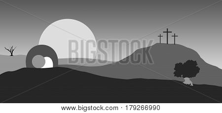 Easter. Empty tomb and crosses in black landscape.