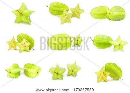 Collage of starfruit isolated on a white background with clipping path