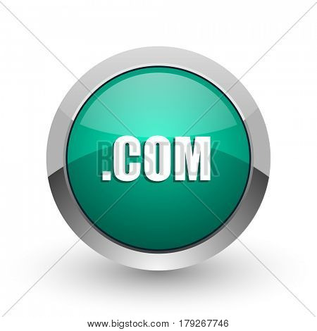 Com silver metallic chrome web design green round internet icon with shadow on white background.