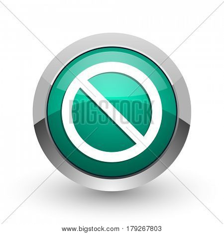 Access denied silver metallic chrome web design green round internet icon with shadow on white background.