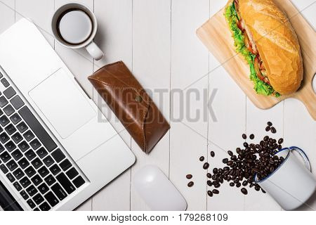 Snack At Break Time. Healthy Business Lunch In Office, Top View Of Vietnamese Sandwich, Or Ban Mi On