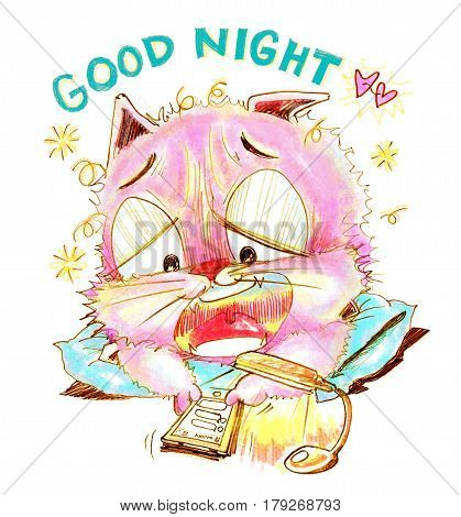 Cat chat social net work on mobile phone with his girl friend I want to sleepy and say Good night Cartoon cute character design pencil sketch art line.