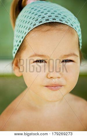 Portrait of a smiling girl asian-mestizo close-up