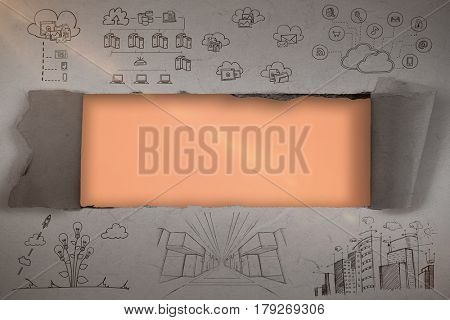 Composite image of business icons against orange background 3d