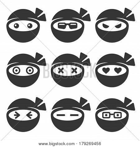 Ninja Face Icons Set on White Background. Vector illustration