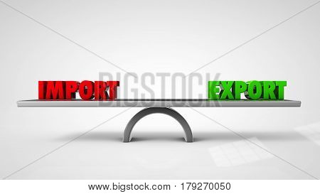 Import export balance concept isolated on white 3d illustration