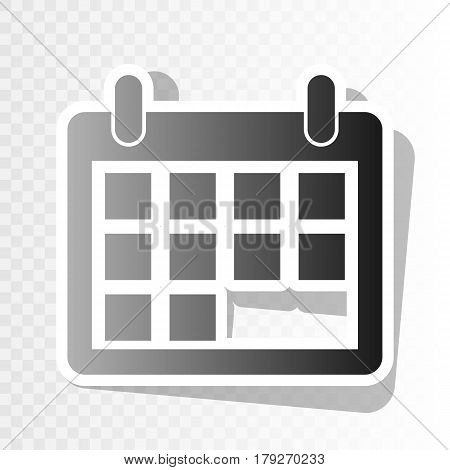 Calendar sign illustration. Vector. New year blackish icon on transparent background with transition.