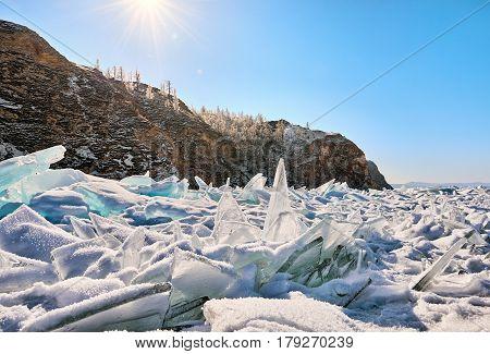 Baikal hummocks are sprinkled with fine snow