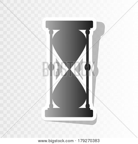 Hourglass sign illustration. Vector. New year blackish icon on transparent background with transition.
