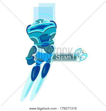 avatar. Robot Great Idea. Blue color. concept of facial, networking, ui, script, ai chatting spam sms profile yummy lol happiness