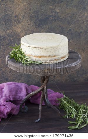 Diet cake on a wooden tray. Delicious useful. Minimum calories
