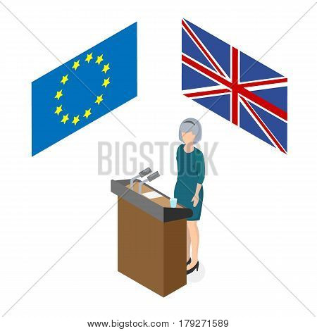 Woman on the rostrum in front of the microphones and the flag of the European Union and the UK isometric style 3d Theme brexite in the United Kingdom