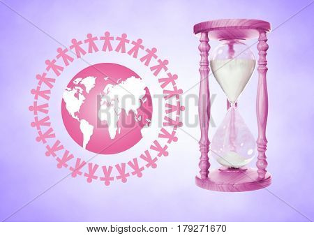 Digital composite of People together around the world illustration with Pink Egg Timer containing sand against purple bac