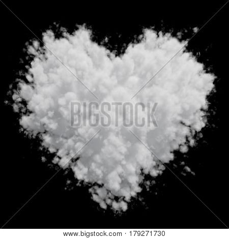 White heart shaped cloud isolated on black background. 3D illustration. Apply to any image in screen mode.