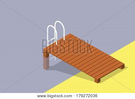 Vector wooden pier with small pool. Brown wharf with ladder steps into swimming pool. Isometric garden project at bathing pond. Oasis in garden of house with swimming area. Natural swimming pond.