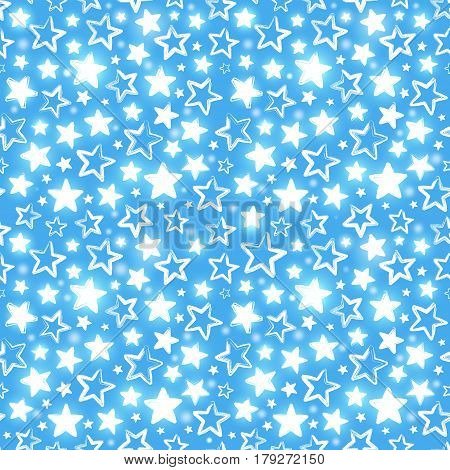 Seamless pattern with shining stars on blue background. Beautiful greeting background. Wrapping paper. Vector illustration