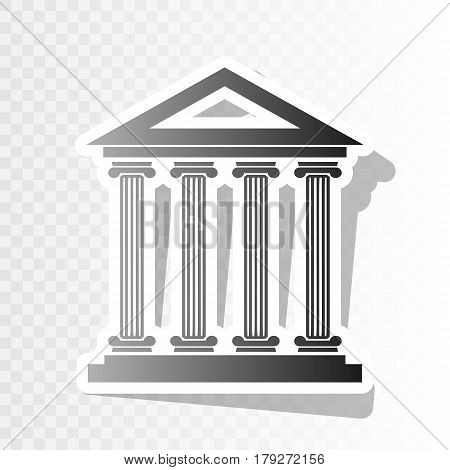 Historical building illustration. Vector. New year blackish icon on transparent background with transition.