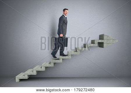 Digital composite of Business man walking on 3d stairs with arrow