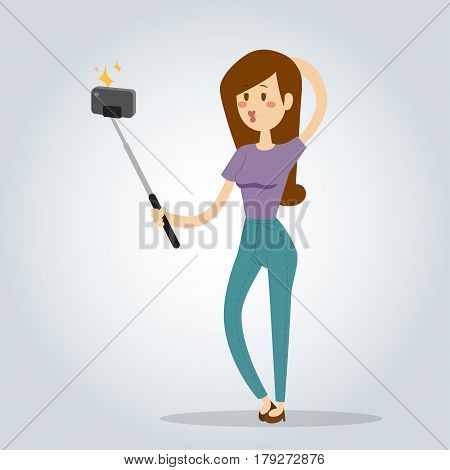 Selfie photo girl woman vector portrait illustration on white background. Take selfie woman, girl, teenager, adult girl. Young girl make photo happy life concept