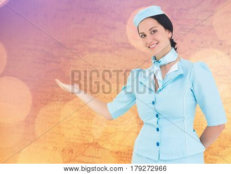 Digital composite of Stewardess against map with bokeh