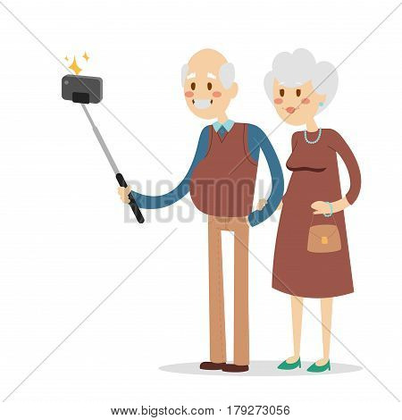 Selfie photo shot grandpa and grandma vector portrait illustration. Old people fun. Take selfie woman, man, old man, old woman Togetherness concept old people celebrate. Pensioners happy life concept