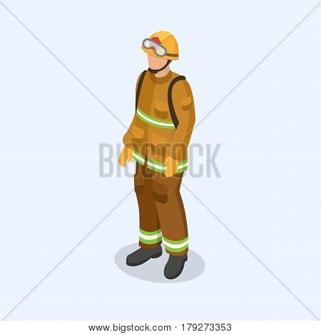 Figure of a fireman in uniform. Professional people concept. 3d isometric vector illustration.