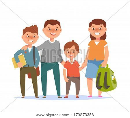 Vector illustration of happy family standing togetherness father mother son elementary schoolboy student go to school on white background flat cartoon style. Back to school concept