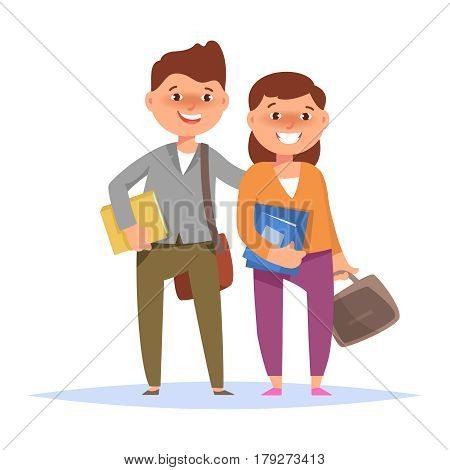 Vector illustration of happy couple college students boy and girl standing with book and school bag isolated. Back to school concept