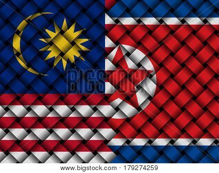 Malaysian North Korean interwoven flags 3d illustration