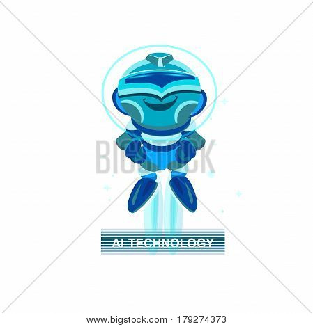 Cute Robot. funny Blue chatbot. concept of facial, Great Idea. Business idea concept.