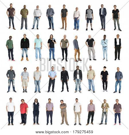 Diversity Men Set Gesture Standing Together Studio Isolated