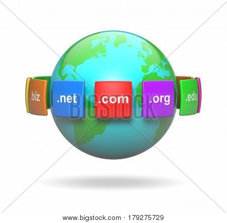 Internet Domain Names Around the Earth 3D Illustration on White Background