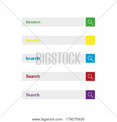 Web search field. Search bar set vector interface elements with search button.