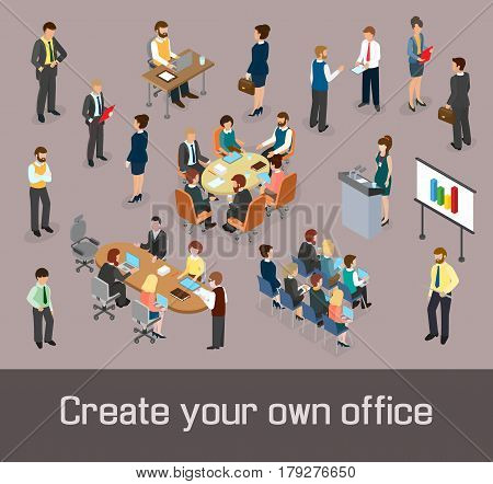 Create your own office concept. Isometric people and office furnishings as elements of design. Vector illustration.