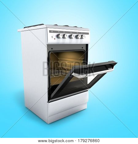 Open Gas Stove 3D Render On Blue  Background
