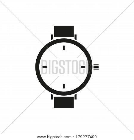 Wristwatch icon.Men's hand watches accessory. Vector wrist watch silhouette symbol.