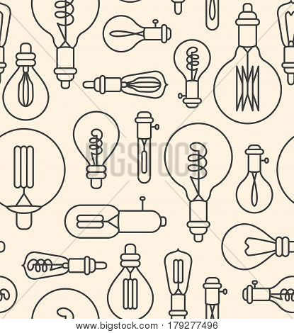 Seamless pattern made of linear lightbulbs on beige background