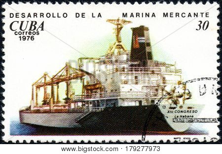 UKRAINE - CIRCA 2017: A postage stamp printed in Cuba shows ship XIII Habana Congress from the series History and development of ships circa 1976