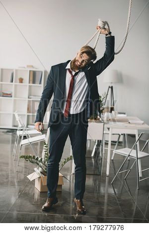 Young Fired Businessman Trying To Hang Himself In Office