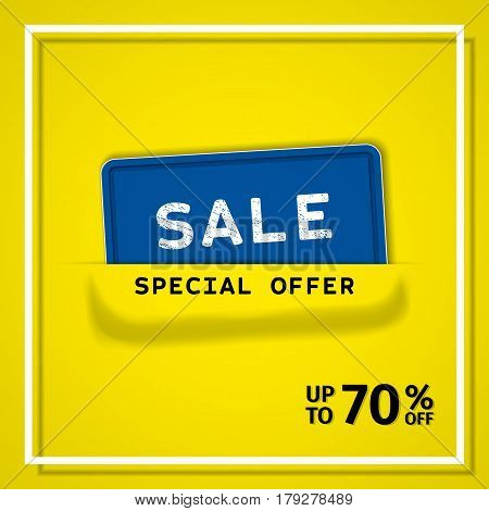 Sale banner. Discount label special offer. Vector background. Template design.