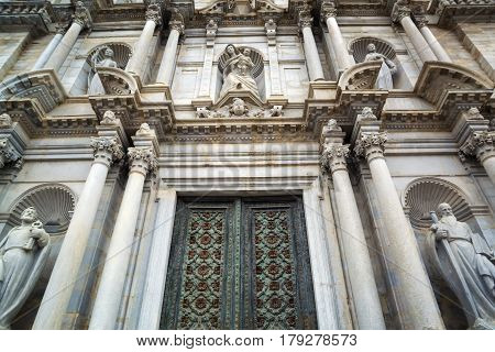 Architectural details of Saint Mary Cathedral - cathedral church of Roman Catholic Diocese of Girona Catalonia Spain. Its construction was started in 11th century and was completed in 18th century.