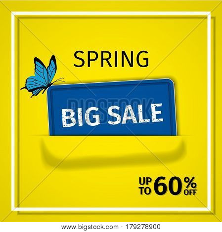 Sale banner. Spring discount label. Vector background. Template design.