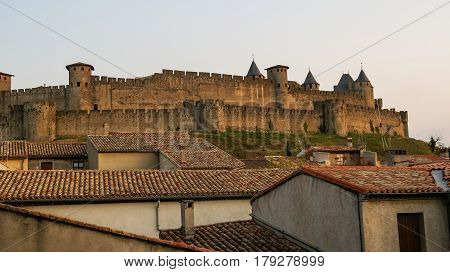 Cityscape of Carcassonne with medieval castle, Toulouse, France
