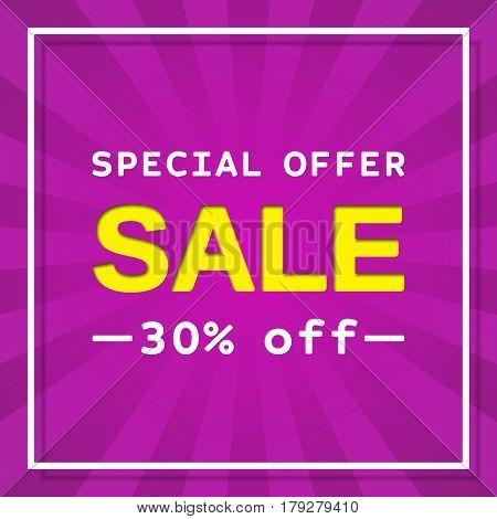 Sale web sticker. Discount label. Special offer banner. Vector background. Template design.